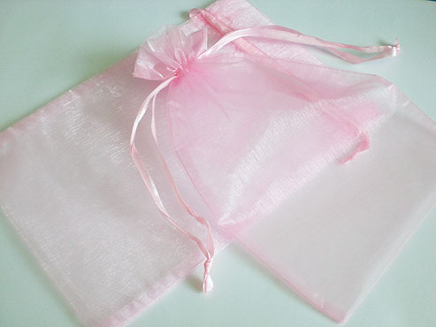 Large Pink Organza Drawstring Bag