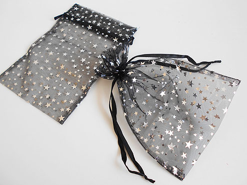 Large Black Organza Bag with Silver Stars