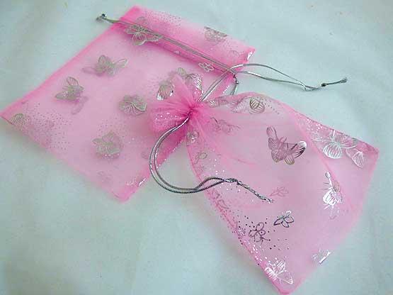 Medium Pink Organza Bag with Silver Butterflies
