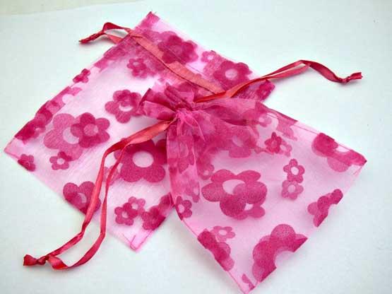 Medium Pink Pansy Organza Drawstring Bag
