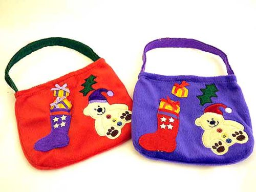 Velour Xmas Teddy Bag - Red or Purple