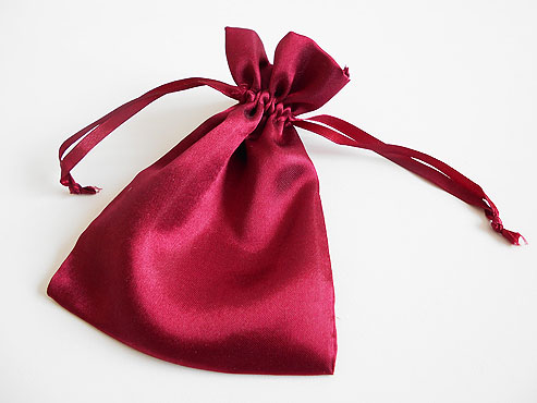 Large Burgundy Satin Drawstring Pouch