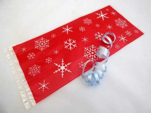 Red Snowflake Cellophane Bag
