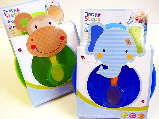 Jungle Pals Travel Feeding Bowl & Spoon Set - Monkey/Elephant