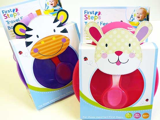 Jungle Pals Travel Feeding Bowl & Spoon Set - Zebra/Rabbit