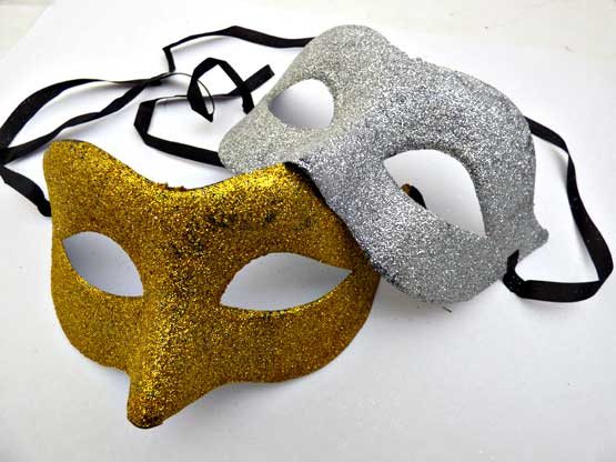 Gold or Silver Glitter Masquerade Mask