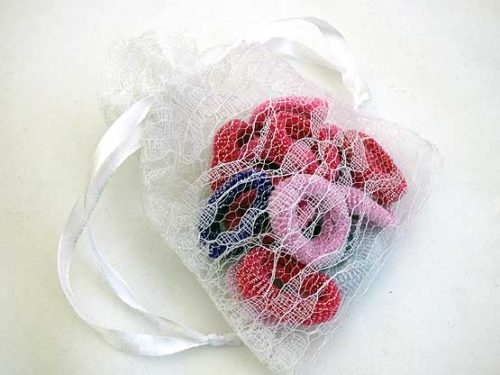 Lacy Bag of Glitter Hair Elastics